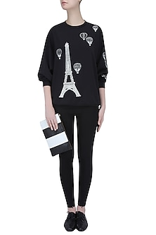 Black Eiffel Tower and Air Balloon Motif Sweatshirt by Shahin Mannan