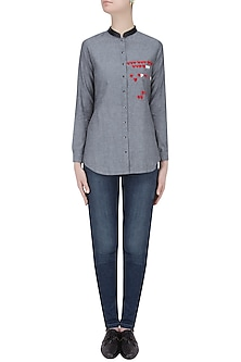 Grey Heart and Quote Embroidered Denim Shirt by Shahin Mannan