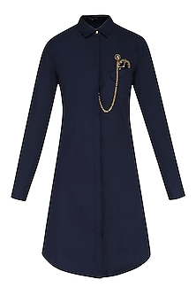 Navy Blue Embroidered Watch Motif Shirt Dress by Shahin Mannan