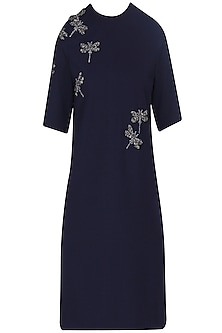 Navy Blue Embroidered Dragonfly Motifs Shift Dress
