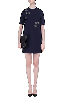 Navy Blue Embroidered Dragonfly Motifs Shift Dress by Shahin Mannan