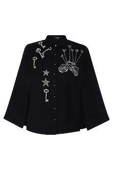Black Key, Bicycle and Stars Motifs Shirt Cape