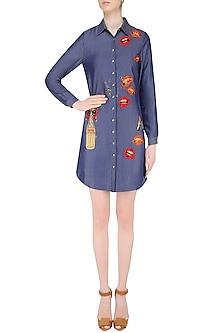 Blue Embroidered Lips and Coca Cola Motifs Shirt Dress by Shahin Mannan
