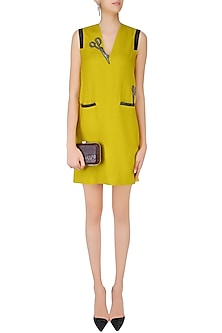Ochre Yellow Scissors Motifs Sleeveless Dress by Shahin Mannan