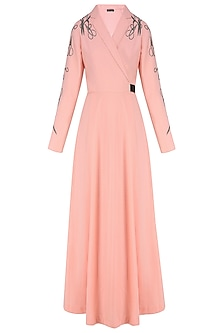 Peach Embroidered Scissors Motifs Overlapped Dress