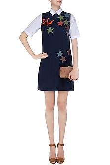 Navy Blue Embroidered Star Motifs Shift Dress by Shahin Mannan