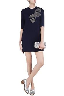 Navy Blue Embroidered Skull Motifs Shift Dress by Shahin Mannan