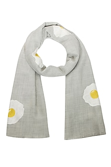 Grey embroidered sunny side up merino wool stole by Shahin Mannan