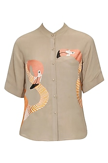 Taupe colour flamingo embroidered motifs shirt by Shahin Mannan