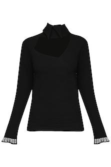 Black Tassels Embellished Top