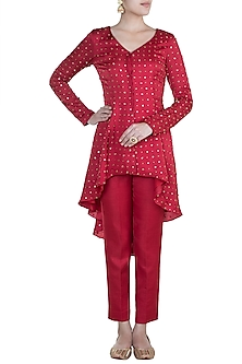 Red Embroidered Tailcoat Tunic With Pants by Shilpa Reddy