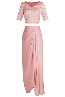 Peach Embroidered Top With Drape Skirt & Dupatta by Shilpa Reddy