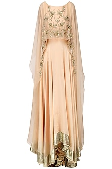 Peach Paisley Embroidered Cape Anarkali Set