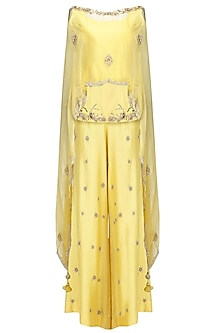 Sunglow Yellow Embroidered Top with Palazzo Pants and Cape Set by Shilpa Reddy