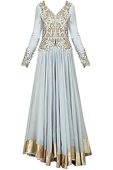 Dust Blue Embroidered Jacket with Skirt Set