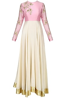 Candy Pink and Cream Embroidered Anarkali Set