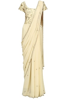 Champagne Embroidered Saree Gown