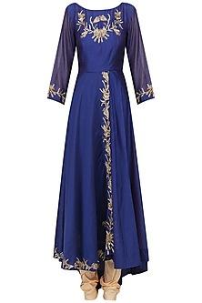 Royal Blue Embroidered Anarkali Set