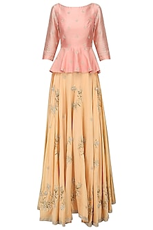Coral Pink Embroidered Peplum with Lehenga Set by Shilpa Reddy