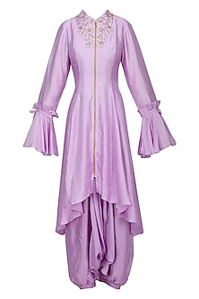 Lavender Asymmetrical Embroidered Tailcoat with Harem Pants