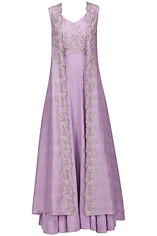 Lavender Embroidered Front Open Jacket with Gown