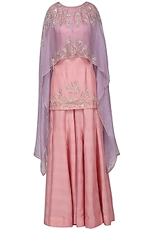 Lavender Asymmetrical Embroidered Cape with Pink Top and Flare Pants