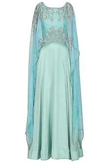 Powder Blue Asymmetrical Embroidered Cape and Sea Green Gown