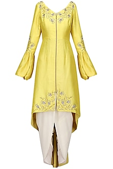 Lemon Yellow Front Open Aysmmterical Tunic with Dhoti Pants