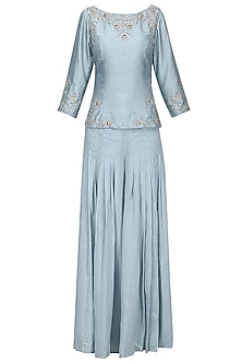 Powder Blue Embroidered Top with Pleated Pants and Dupatta