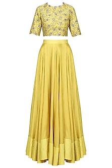 Lemon Yellow Embroidered Lehenga Set
