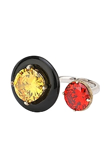 Gold Plated Black Onyx, Red and Yellow Cubic Zirconia Stones Finger Ring by Shruti Agrwal