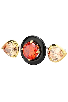 Gold Plated Black Onyx, Red and Peach Cubic Zirconia Stones Multi-Finger Ring by Shruti Agrwal