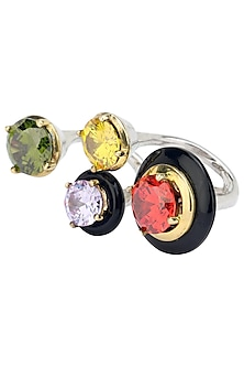 Gold Plated Black Onyx and Multi Coloured Cubic Zirconia Stones Multi-Finger Ring by Shruti Agrwal