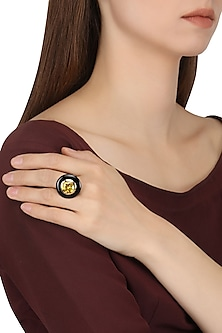 Gold Plated Black Onyx and Yellow Cubic Zirconia Stone Finger Ring by Shruti Agrwal