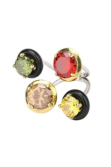 Gold Plated Black Onyx and Multi Coloured Cubic Zirconia Stones Finger Ring by Shruti Agrwal