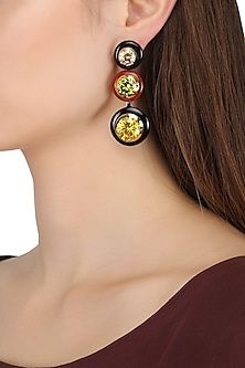 Gold Plated Black and Red Onyx with Multi Coloured Cubic Zirconia Stones Drop Earrings by Shruti Agrwal