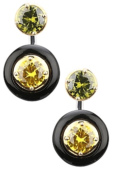 Gold Plated Black Onyx, Gold and Green Cubic Zirconia Stones Drop Earrings by Shruti Agrwal