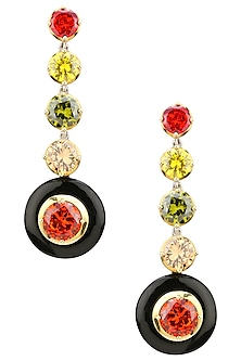 Gold Plated Black Onyx and Multi-Coloured Cubic Zirconia Stones Five Drop Earrings by Shruti Agrwal
