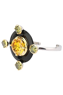 Gold Plated Black Onyx, Yellow and Green Cubic Zirconia Stones Bangle by Shruti Agrwal