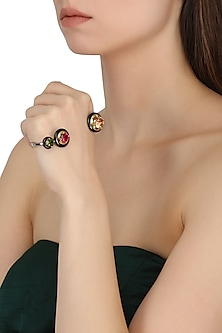 Gold Plated Black Onyx and Multi-Coloured Cubic Zirconia Stones Palmcuff