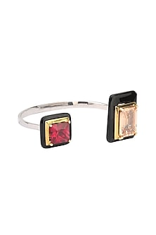 Gold Plated Black Onyx, Red and Peach Cubic Zirconia Stones Bangle by Shruti Agrwal