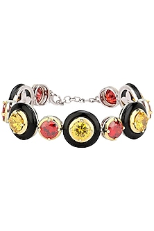 Gold Plated Black Onyx, Red and Yellow Cubic Zirconia Stones Bracelet by Shruti Agrwal