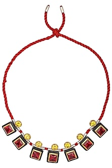 Gold Plated Black Onyx, Red and Yellow Cubic Zirconia Stones Necklace by Shruti Agrwal