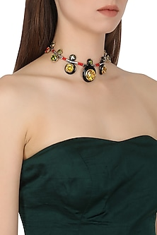 Gold Plated Black Onyx and Multi-Coloured Cubic Zirconia Stones Necklace