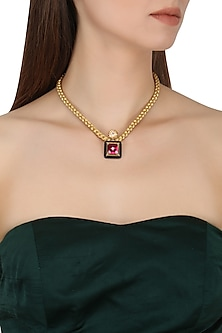 Gold Plated Black Onyx, Peach and Red Cubic Zirconia Stones Pendant Necklace