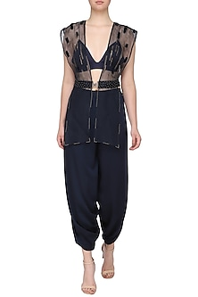 Dark blue embroidered jacket with bustier and pants by SHEENA SINGH