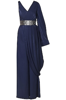 Night blue drape jumpsuit by SHEENA SINGH