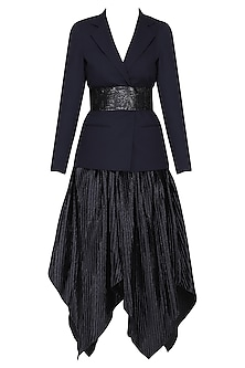 Blue pleated skirt with blazer and belt