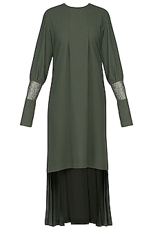 Green embroidered pleated dress