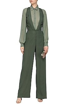 Mint green embroidered jumpsuit with shirt by SHEENA SINGH